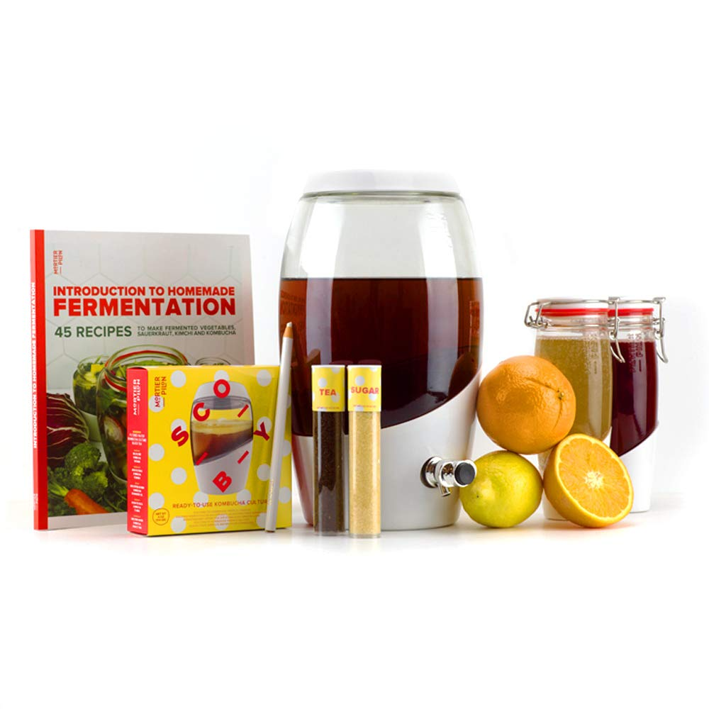 Mortier Pilon - Kombucha Master Kit - 1x Kombucha Jar + 2x Fliptop Bottles For Kombucha + Ingredients + 1x 45 Recipe Book For Homemade Kombucha by Mortier Pilon