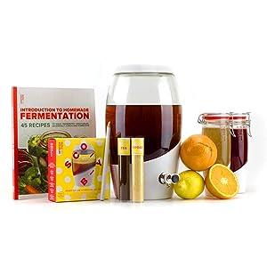 Mortier Pilon - Kombucha Master Kit - 1x Kombucha Jar + 2x Fliptop Bottles For Kombucha + Ingredients + 1x 45 Recipe Book For Homemade Kombucha