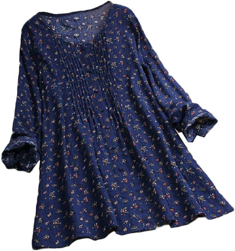 HEFASDM Womens Long Sleeves Linen&Cotton Floral Print T-Shirt Blouse Tunic Tops