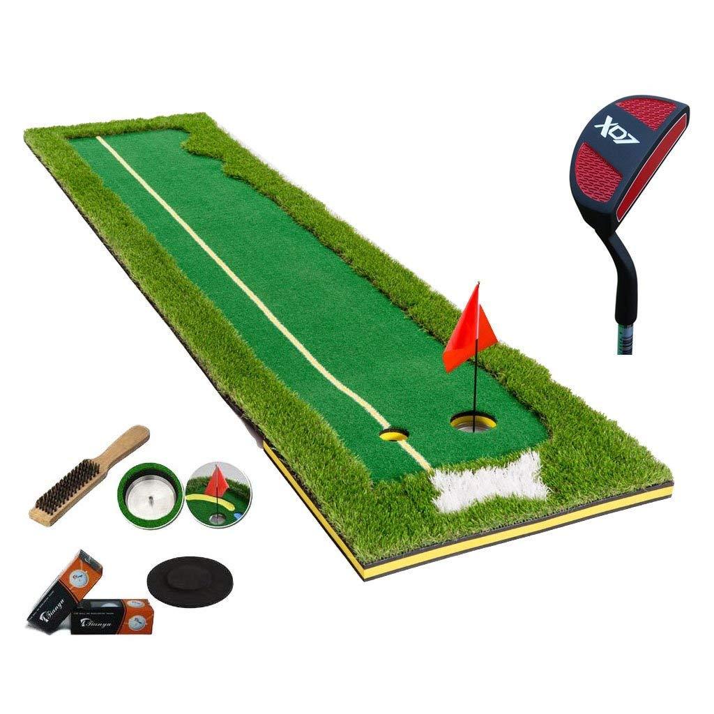 IG家庭用家具ゴルフマットポータブルゴルフパッティング練習マット付きゴルフパター6ボール、300 * 75 cm B07KTSW3MP