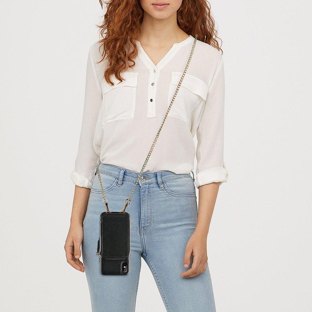 iPhone XS Wallet Case, iPhone X Wallet Case, ZVE iPhone X/XS Wallet Case with Crossbody Chain Credit Card Holder Slot Zipper Handbag Case for Apple iPhone XS (2018) / iPhone X (2017) -Black