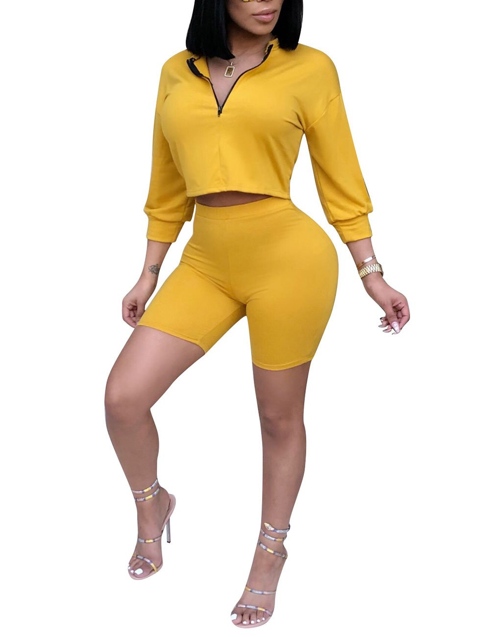 Womens Zipper Front Crop Tops High Waist Bodycon Shorts Set 2 Piece Jogging Outfits Yellow M