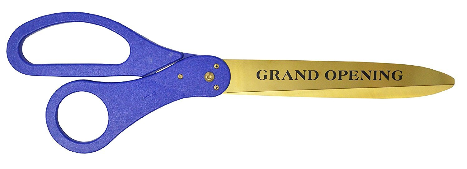 30 Inch Long Gold Color Steel & Engraved - Grand Opening Ribbon Cutting Scissors (Blue) by Better Supplies
