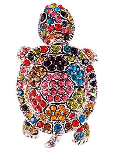 Alilang Adjustable Silvery Tone Multicolored Rhinestones Colorful Sea Turtle Ring Designer Multi Colored Ring