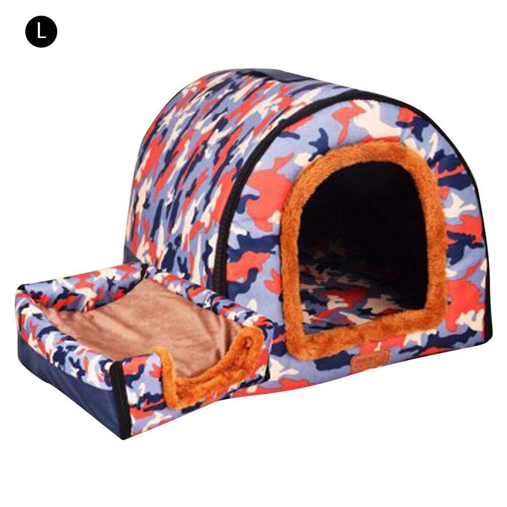 E Lblueeyouth Pet Bed, Detachable Washable DualUse Nest Arc House Puppy Pet Home Plush Dog Kennel Cylindrical Dog House Large Kennel.