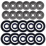 Eagles 10pcs Deep V Groove Ball Bearings with 10pcs Rubber Coated Small pulley roller