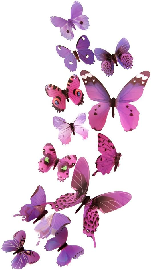 geshiglobal Pegatinas De Pared 3D Gradient Butterfly Wing Plegable Extraíble DIY Art Decals Home Office Interior Outdoor Decor Rojo púrpura