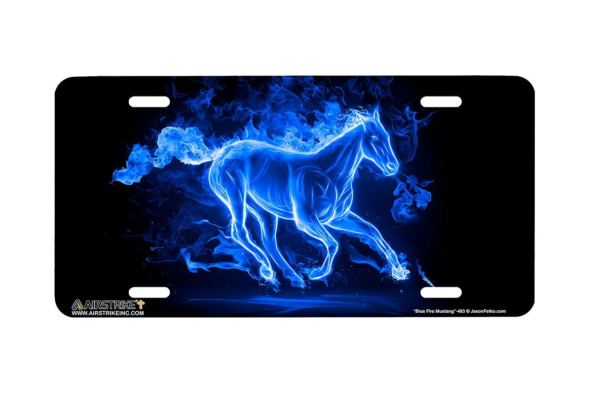 Airstrike Mustang License Plate Fire Blue Horse Made in USA -493 Made of Metal