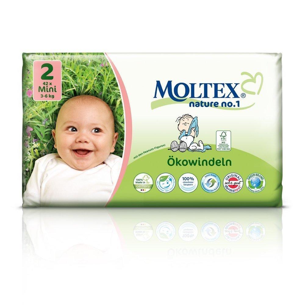 126 St. MOLTEX Nature No1 Peanuts Ökowindeln Babywindeln MINI Gr 2 (3-6 kg) 3x 42 Stück Ontex