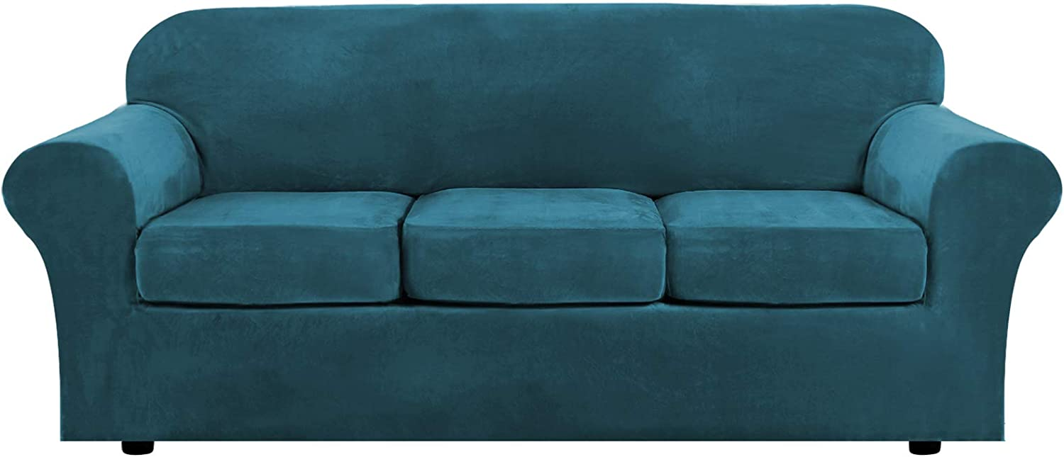 H.VERSAILTEX Modern Velvet Plush 4 Piece High Stretch Sofa Slipcover Strap Sofa Cover Furniture Protector Form Fit Luxury Thick Velvet Sofa Cover for 3 Cushion Couch, Machine Washable(Sofa,Deep Teal)