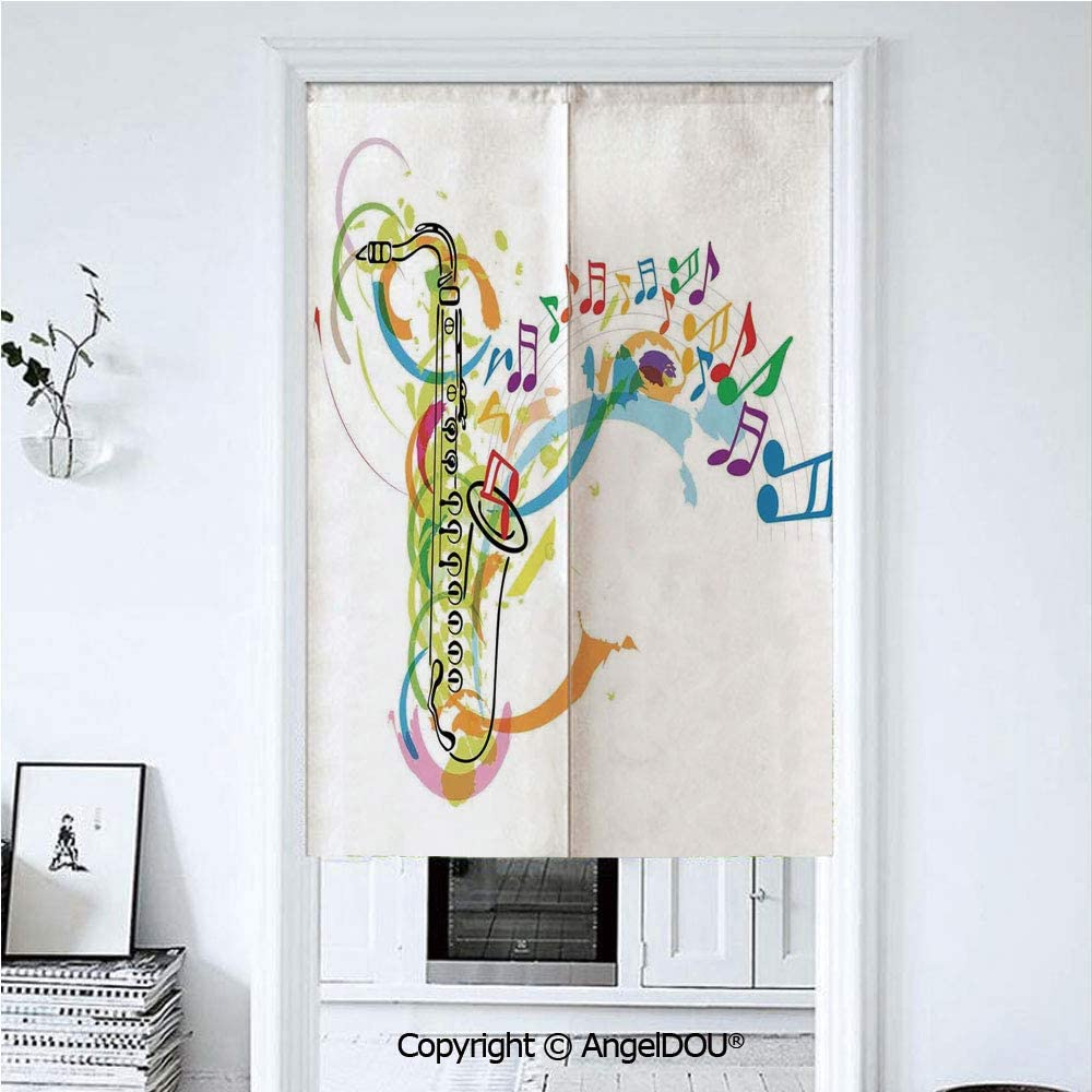 AngelDOU Virgo Summer Automatic Closing Curtains Valances Black and White Symbol Zodiac Sign Astrologic Celestial Alignments Predicting Future Door Screen Partition Curtain 33.5x47.2 inches