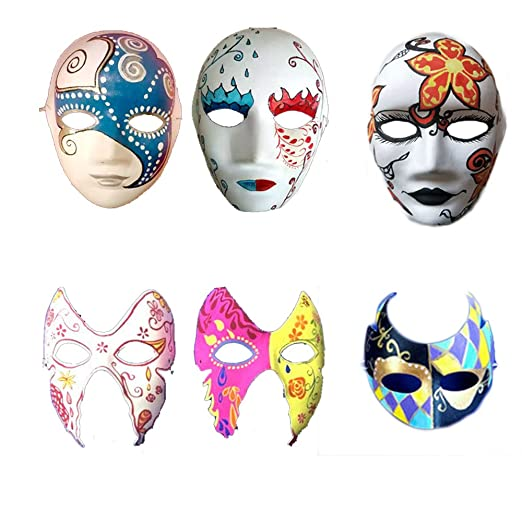 Meimask 10pcs Bricolaje Papel Blanco máscara de Pulpa en Blanco máscara Pintada a Mano Personalidad Creativo diseño Libre máscara (Hombres): Amazon.es: ...