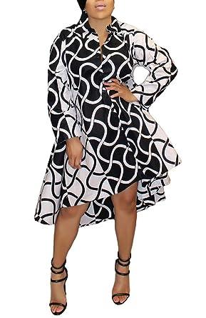 Bluewolfsea Womens Casual Long Sleeve Button Down Collar Loose Striped  Boyfriend Shirt Dress Midi Irregular Hem 67b869f37