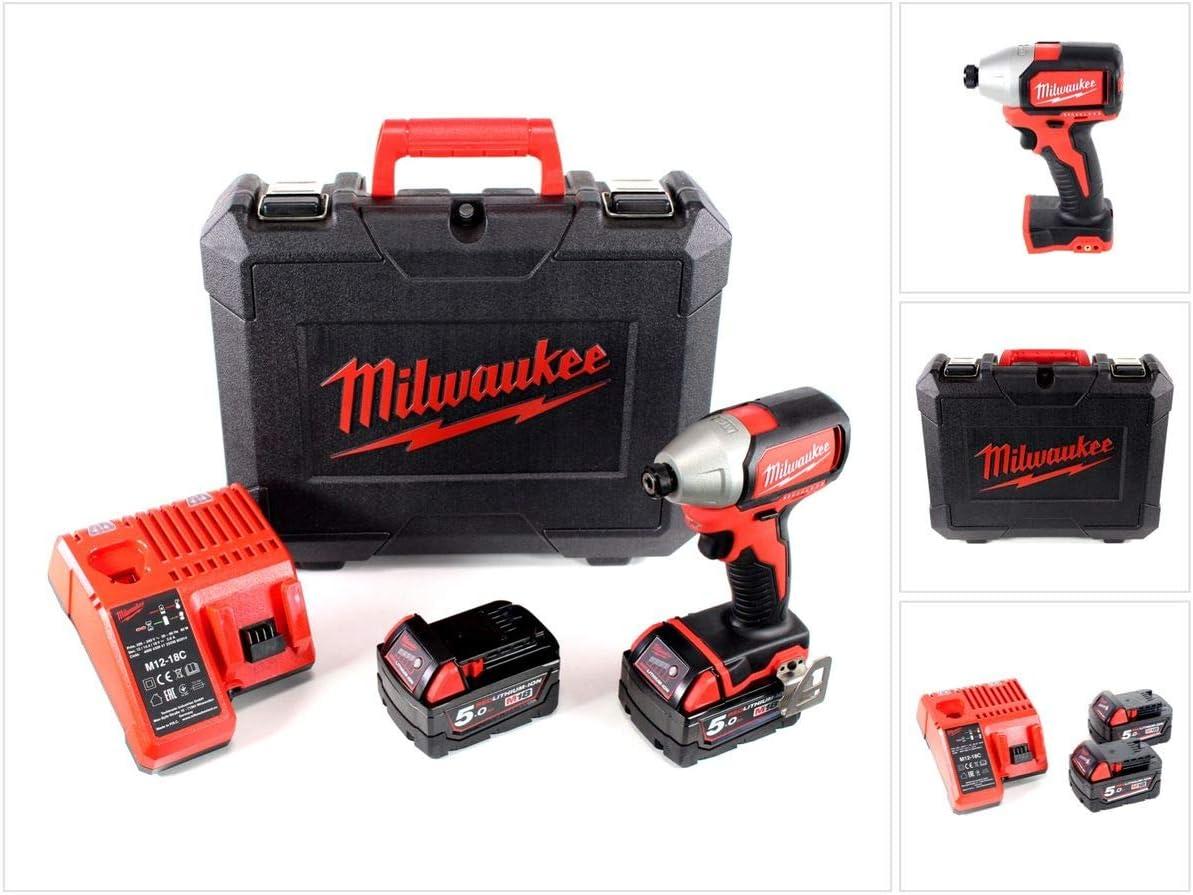 Milwaukee M18blid 502C 18V Brushless atornillador–Impacto inalámbrico + 2x 5.0Ah Red batería de ion de litio + Milwaukee M12–18C universal cargador de batería + Maletín