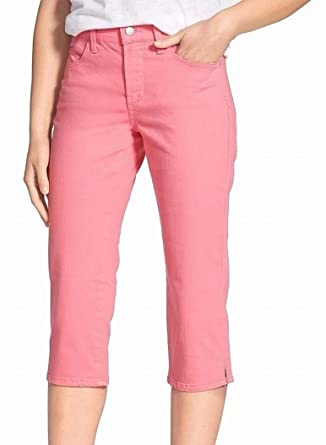 a3db338acd NYDJ Women s Petite Pink Slim Fit Capri Cropped Jeans 12P at Amazon Women s  Jeans store