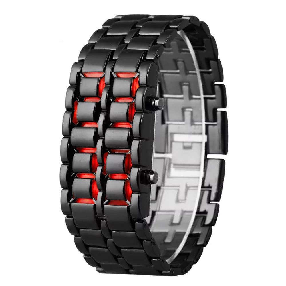 Toponly New Iron Samurai Metal Bracelet Watch LED Digital Watches Hour Men Women Smart Watches