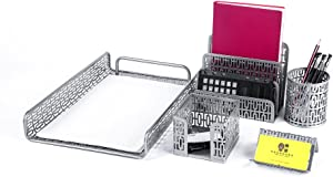 Crystallove Metal Mesh Desk Accessories Office Products Organizer Set of 5pcs-Document Tray, Mail Sorter, Pencil Cup, Memo Holder and Business Card Holder (Silver-Style 1)