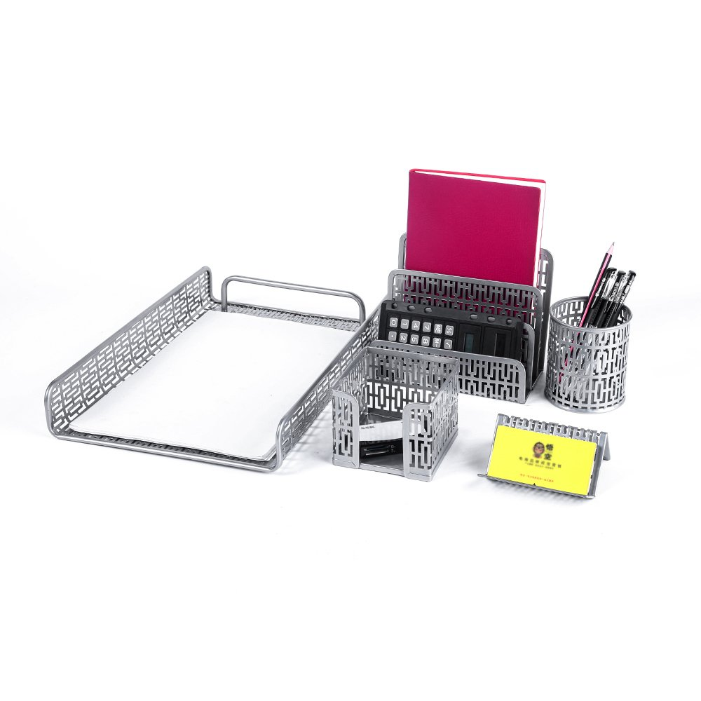 Crystallove Metal Mesh Desk Accessories Office Products Organizer Set of 5pcs-Document Tray, Mail Sorter, Pencil Cup, Memo Holder and Business Card Holder (Silver-Style 1) by Crystallove