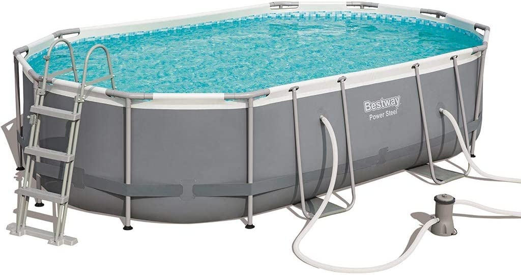 Bestway 56448 Power Steel - Piscina Exterior Ovalada, 488 x 305 x ...