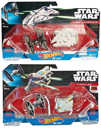 2 Pack StarShip & Star Wars Spaceship Set – Hot Wheels Millennium Falcon Tie Fighter & Ghost ship First Order 4 ships