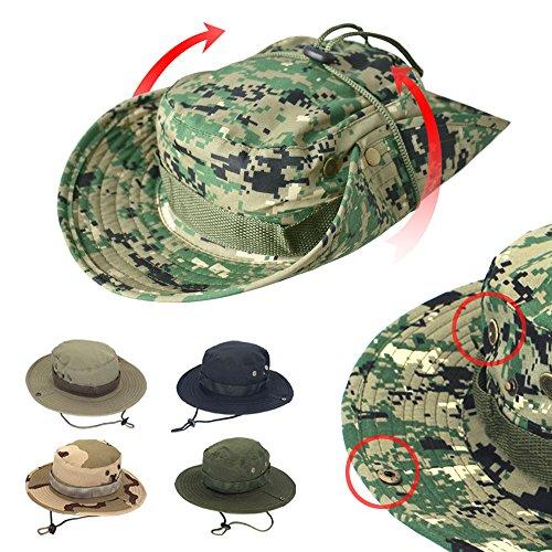 2ffaf86b964377 Mens Hats Sun Boonie Hat, AYAMAYA Wide Brim Quick Drying Bucket Military Hat  Summer Outdoor Fishing Hat Breathable UV Protective ...