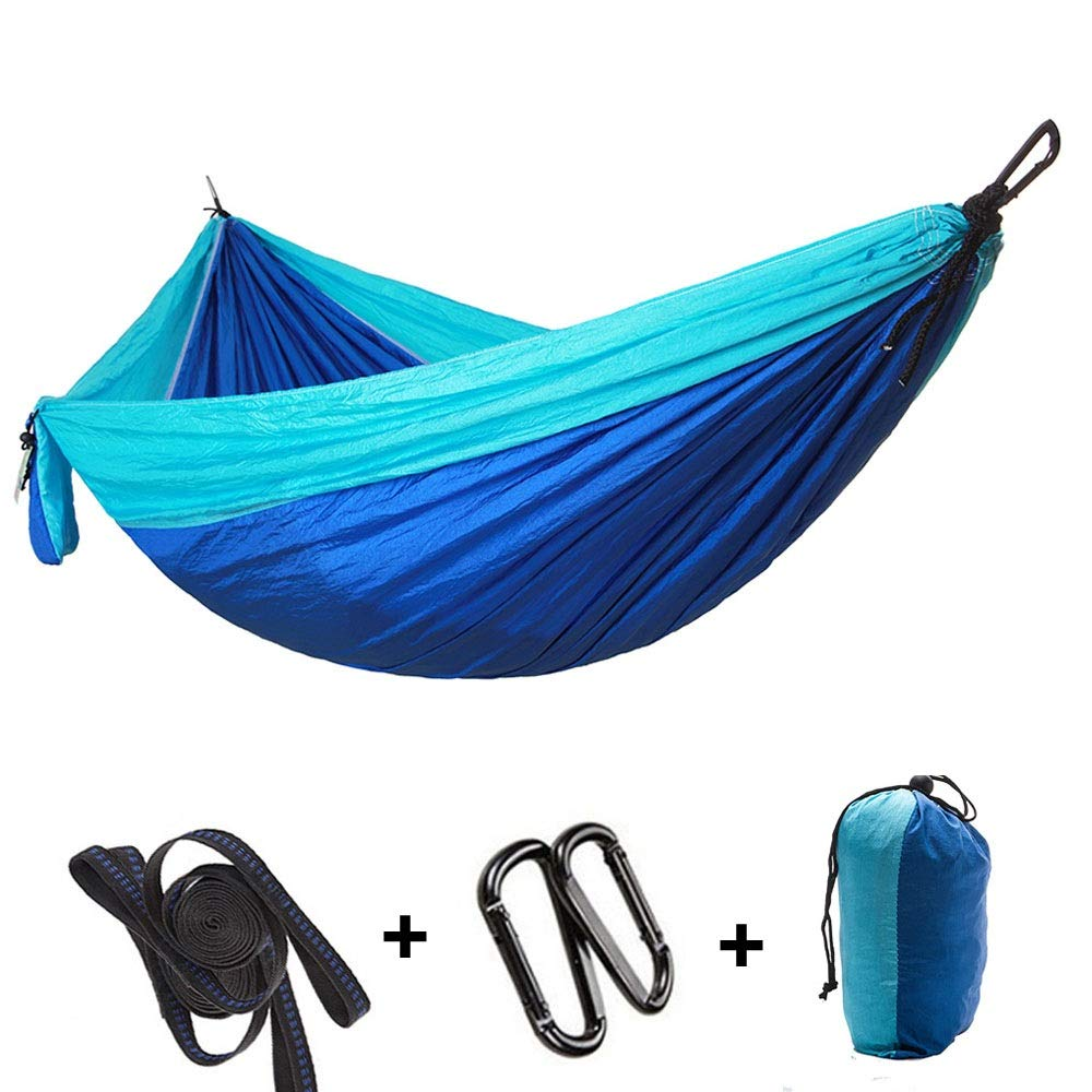blueee Hammock Camping Double & Single with Tree Straps  Outdoor Indoor Lightweight Nylon Portable Hammock for Backpacking, Travel, Beach, Yard