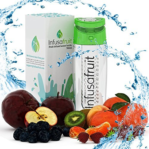 Price comparison product image Fruit Infuser Water Bottle - Will You Gulp The Pulp | Make Your Water Yummy! Leak Proof, BPA Free, 700ml Infusion Water Bottle by InfusaFruit (Green) by InfusaFruit LTD