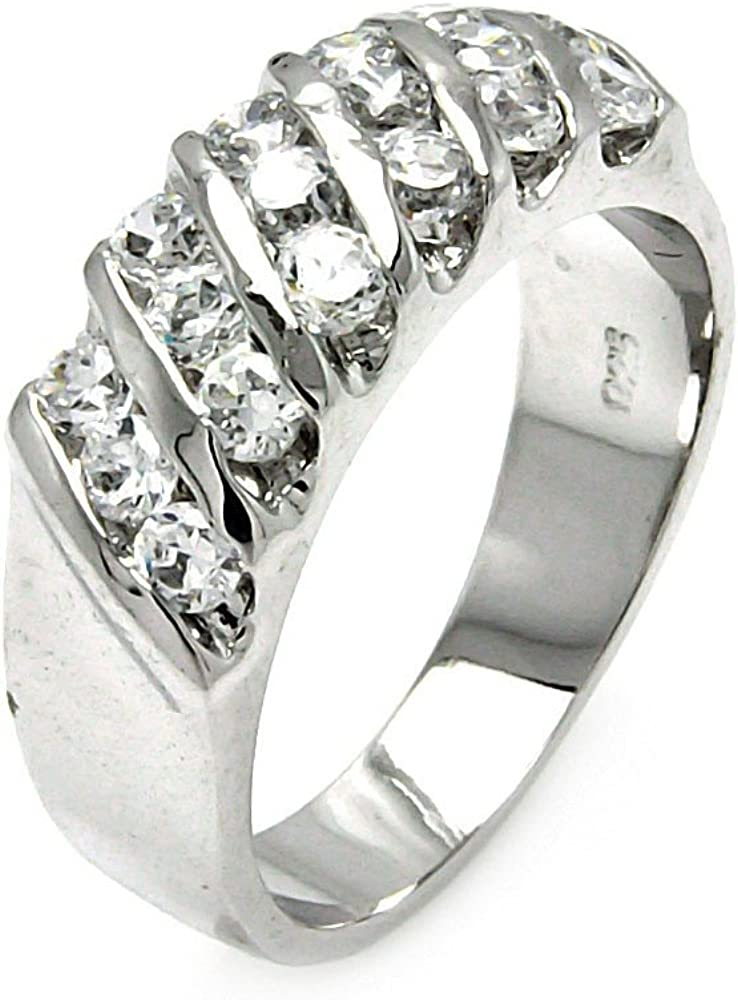 Princess Kylie Clear Round Cubic Zirconia Sideway Designer Band Ring Rhodium Plated Sterling Silver