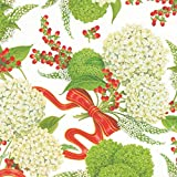 Entertaining with Caspari Continuous Roll of Gift Wrapping Paper, Snowball Hydrangeas White, 8-Feet, 1-Roll