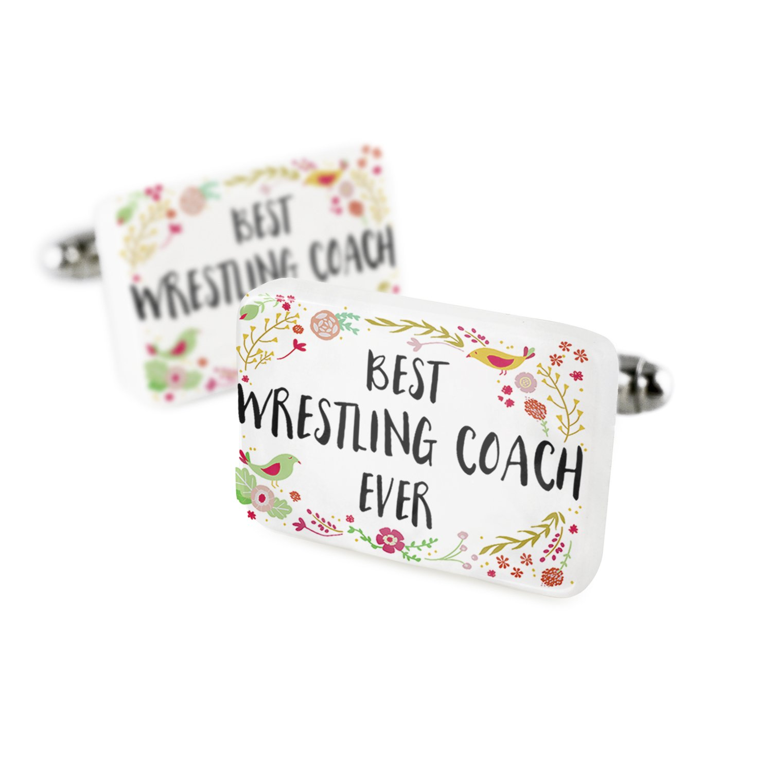 Cufflinks Happy Floral Border Wrestling Coach Porcelain Ceramic NEONBLOND