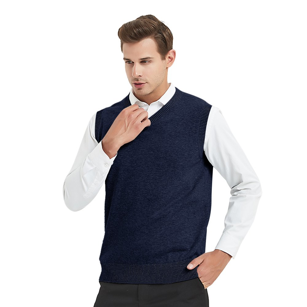 TOPTIE Mens Business Solid Color Plain Sweater Vest, Cotton Fit Casual Pullover SWEH-DK68320
