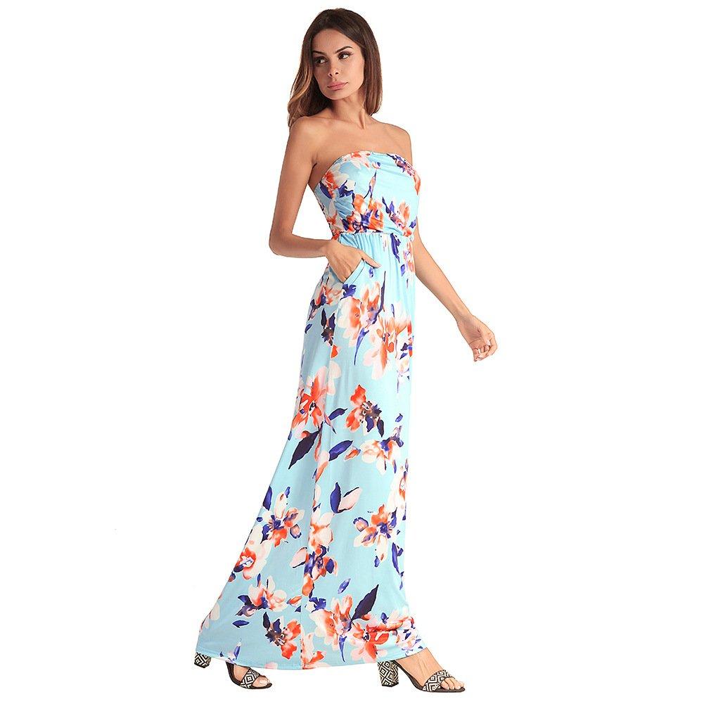 911de4683 antaina Vestido de Flores de Color Azul Claro de Impresión del Hombro Larga  Playa de Las Mujeres Batientes Con Bolsillos
