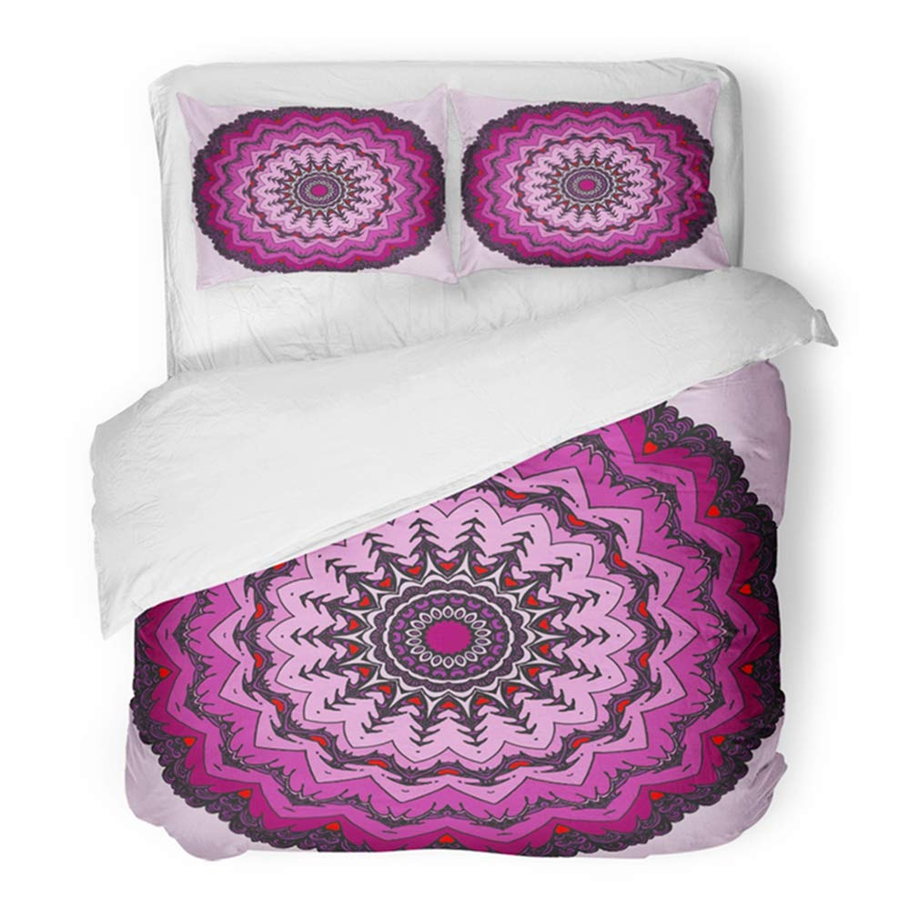 Emvency Bedding Duvet Cover Set Twin (1 Duvet Cover + 1 Pillowcase) Mandala Lace Circle Window in Gothic Style Symmetry Doodling Doodle Ornamental Hotel Quality Wrinkle and Stain Resistant