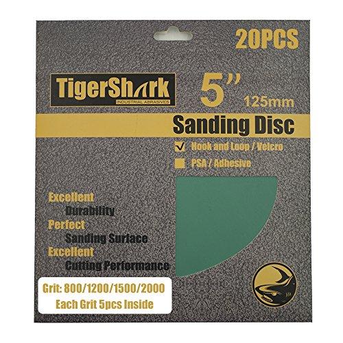 No 5 Film - TigerShark 5inch No Hole Film Sanding discs Hook and Loop Wet & Dry Grit 800/1200/1500/2000 5 Pcs Each Assortment