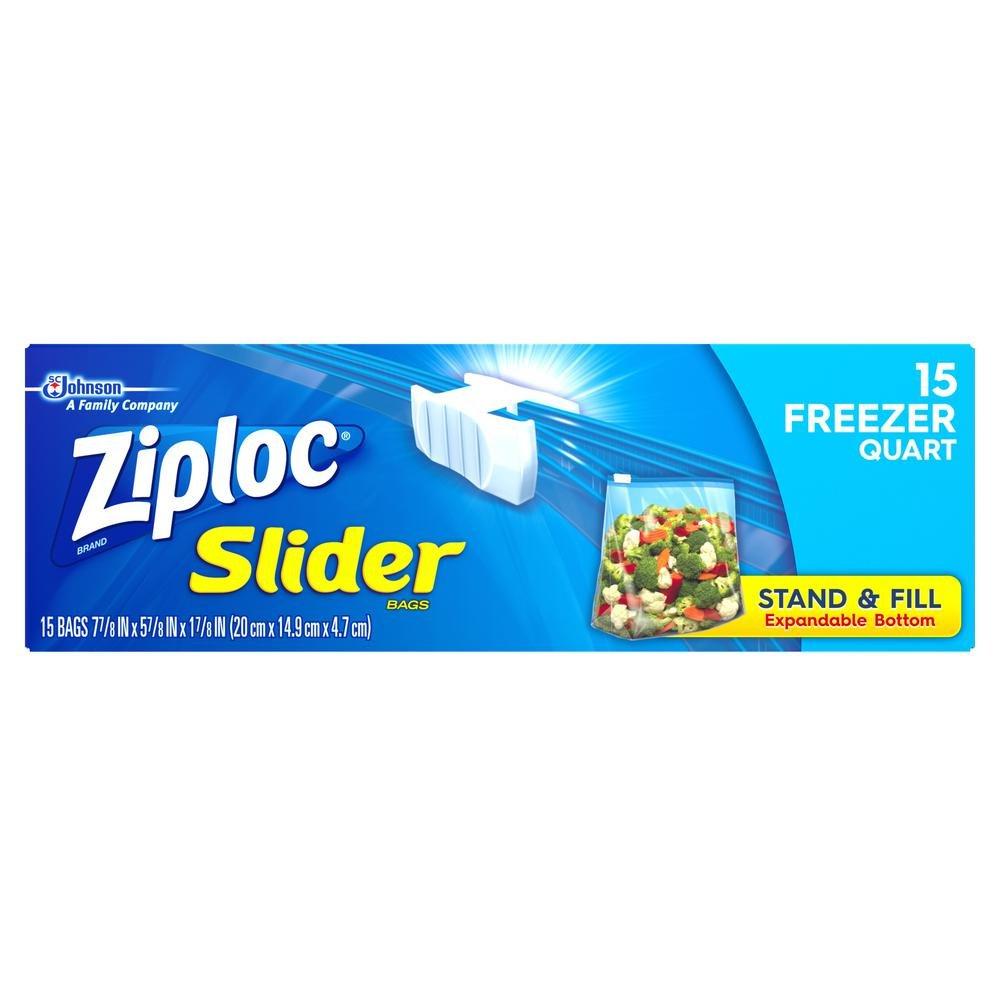17,78 cm. Quart - Bolsa deslizante de plástico para congelador, 15 ...