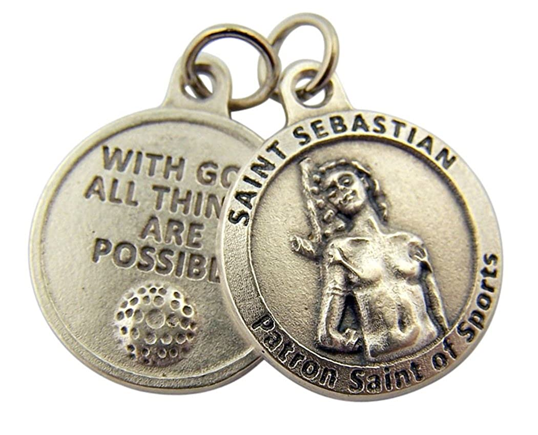 3//4 Inch L/&M Silver Toned Base with God All Things are Possible Saint Sebastian Sports Medal
