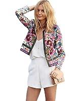 Tongshi Mujeres impreso floral chaqueta corta manga larga Outwear