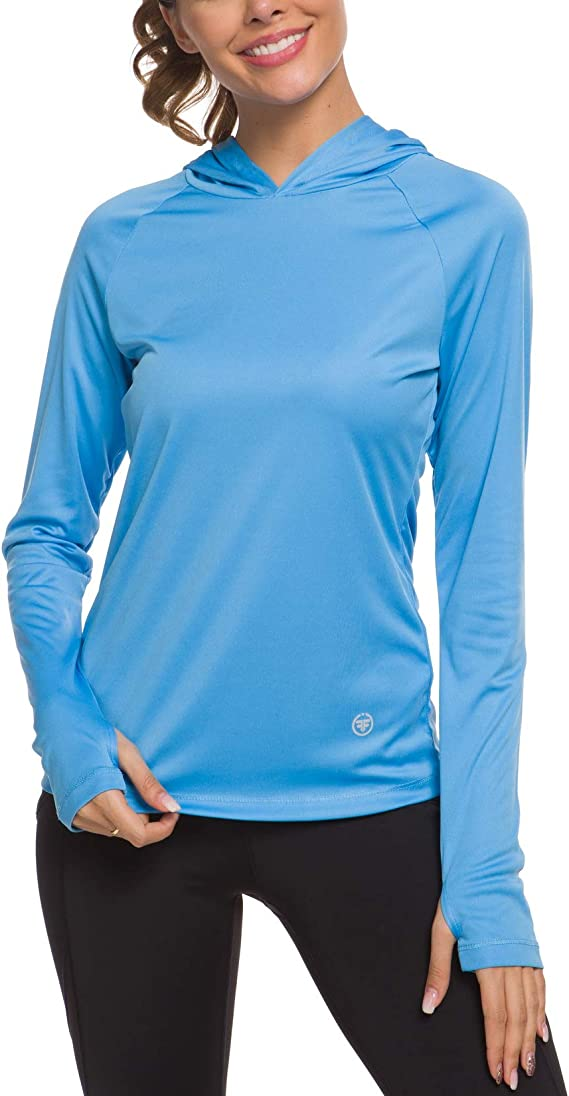 UV Sun Protection T-Shirts Athletic Top Long Sleeve Shirts Rashguards Hoodies Outdoor Performance Running Workout Tee Sky Blue Size US XL ChinFun Womens UPF 50