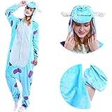 MGOGO Adult Kigurumi Pajamas-Unisex Sulley Sullivan Onesie Halloween Animal Costume Winter Sleeping Wear Cosplay