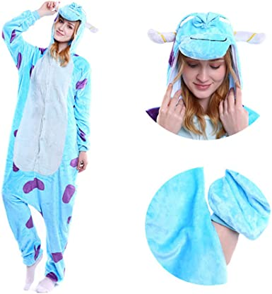 Amazon Com Mgogo Adult Kigurumi Pajamas Unisex Sulley Sullivan Onesie Halloween Animal Costume Winter Sleeping Wear Cosplay Clothing