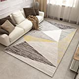 Mrs.W Contemporary Geometric Design Area Rug Non Slip Carpet For Hard Floors Triangular 3'11