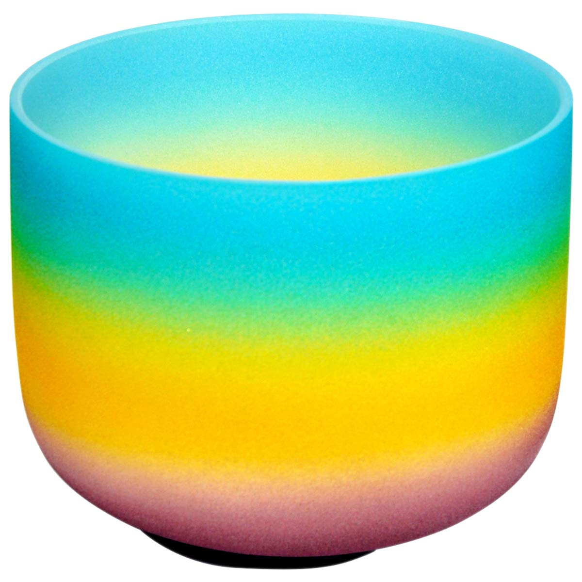 14 Inch 432Hz Rainbow Indigo Frosted Crystal Singing Bowl Note G Throat Chakra Best Quality Sound & Material (O Ring & Transparent Rubber Mallet Included)