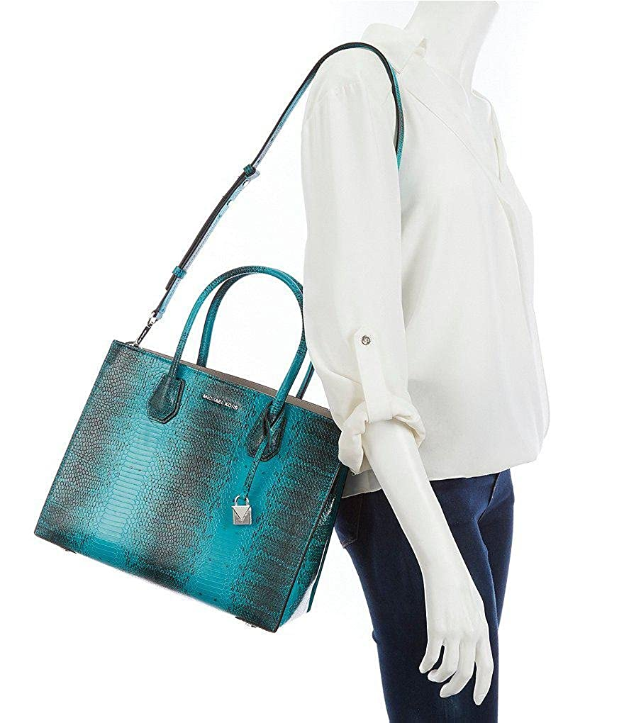 d21370cd3133 Amazon.com  Michael Kors Studio Mercer Snake Medium Large Convertible Tote  Tile Blue Leather Bag  Shoes