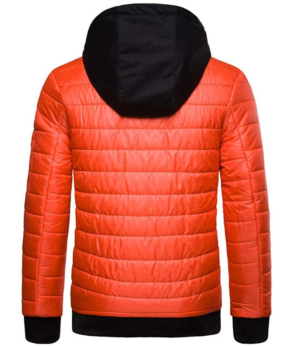 XiaoTianXinMen XTX Men Zip-Up Hooded Winter Drawstring Quilted Outwear Down Jacket Coat