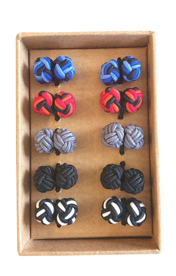 Rammentare Silk Knot Cufflinks - Gift set 5 pairs - Mixed Black