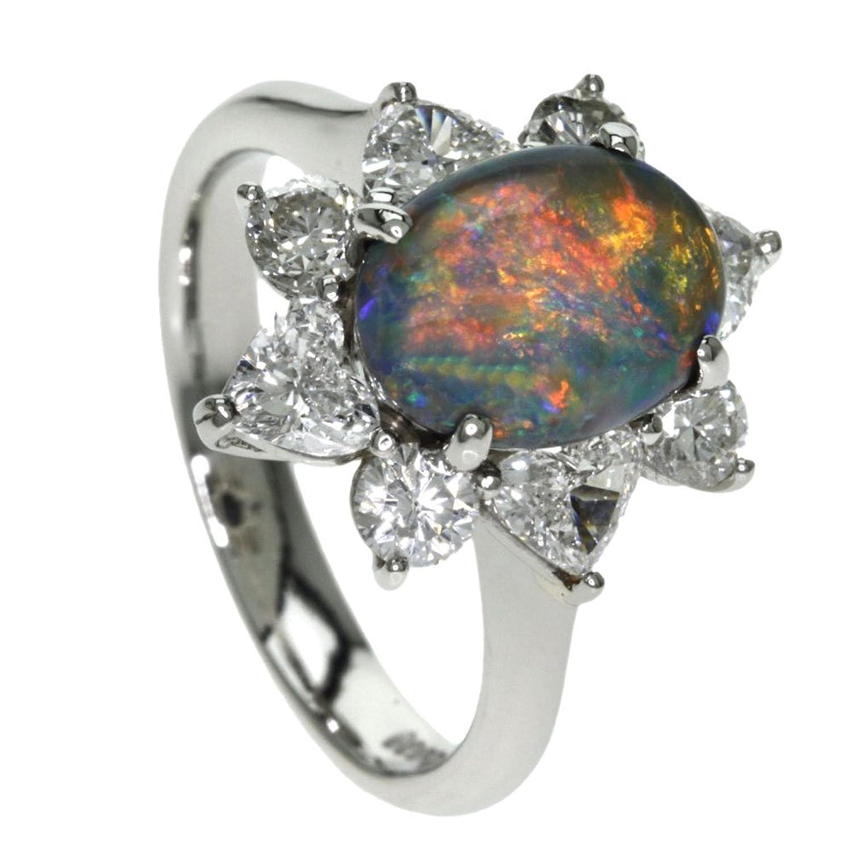 7.2g オパール/ダイヤモンド リング指輪 プラチナPT900 レディース (中古) B076FLVC1R