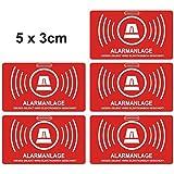 5adesivi per esterni segnalanti impianto di allarme, dimensioni: 5x 3cm (lingua italiana non garantita) 047, 5 pezzi per esterno.