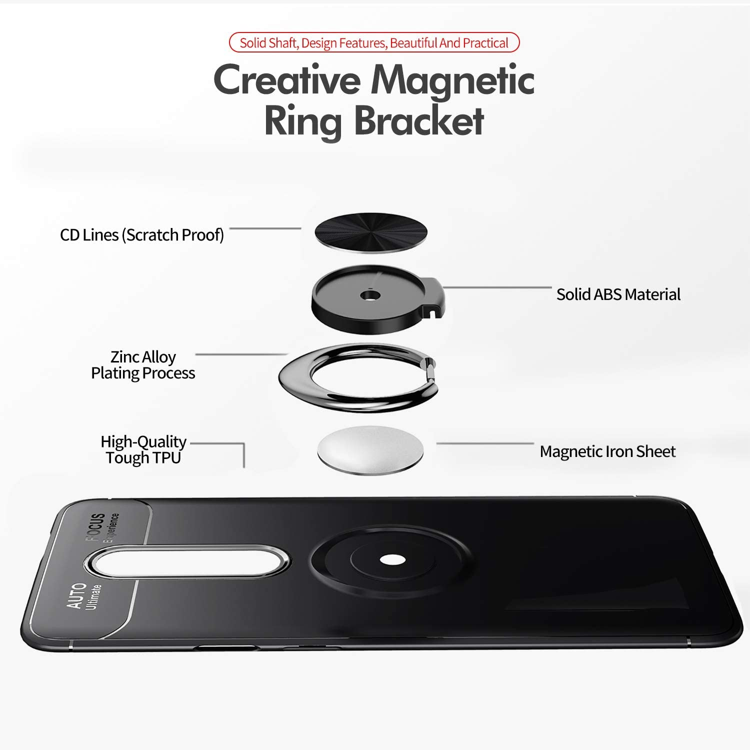Newseego Compatible with Oneplus 7 Pro Case,360/° Adjustable Ring Stand,Frosting Thin Soft Protective and Finger Ring Holder Kickstand Fit Magnetic Car Mount for Oneplus 7 Pro-Black+Silver