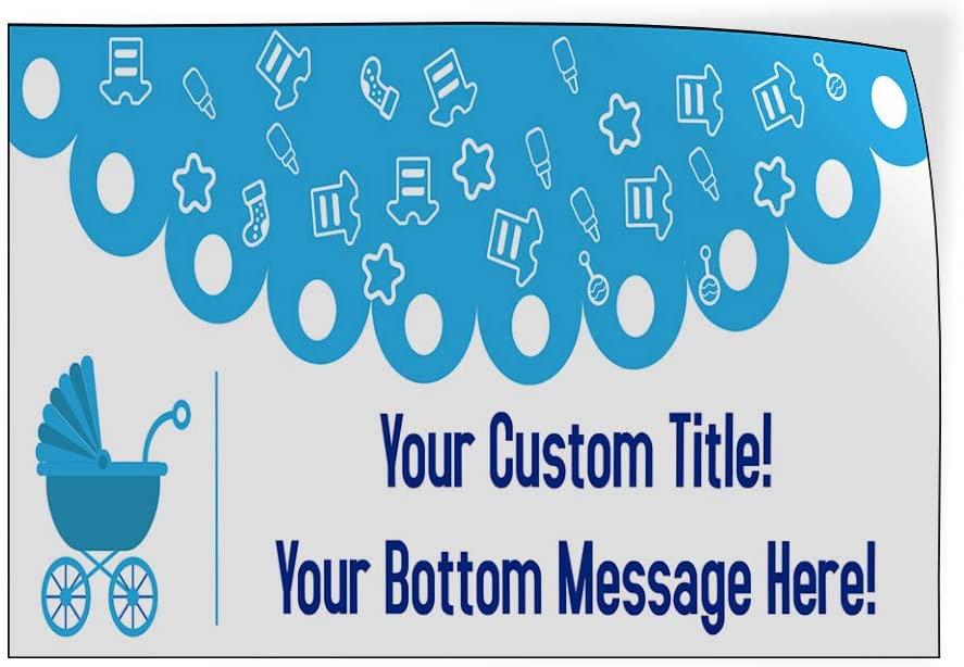 Baby Shower Message Blue B Lifestyle Baby Shower Celebration Outdoor Luggage /& Bumper Stickers for Cars Blue 20X14Inches Set of 10 Custom Door Decals Vinyl Stickers Multiple Sizes Your Title