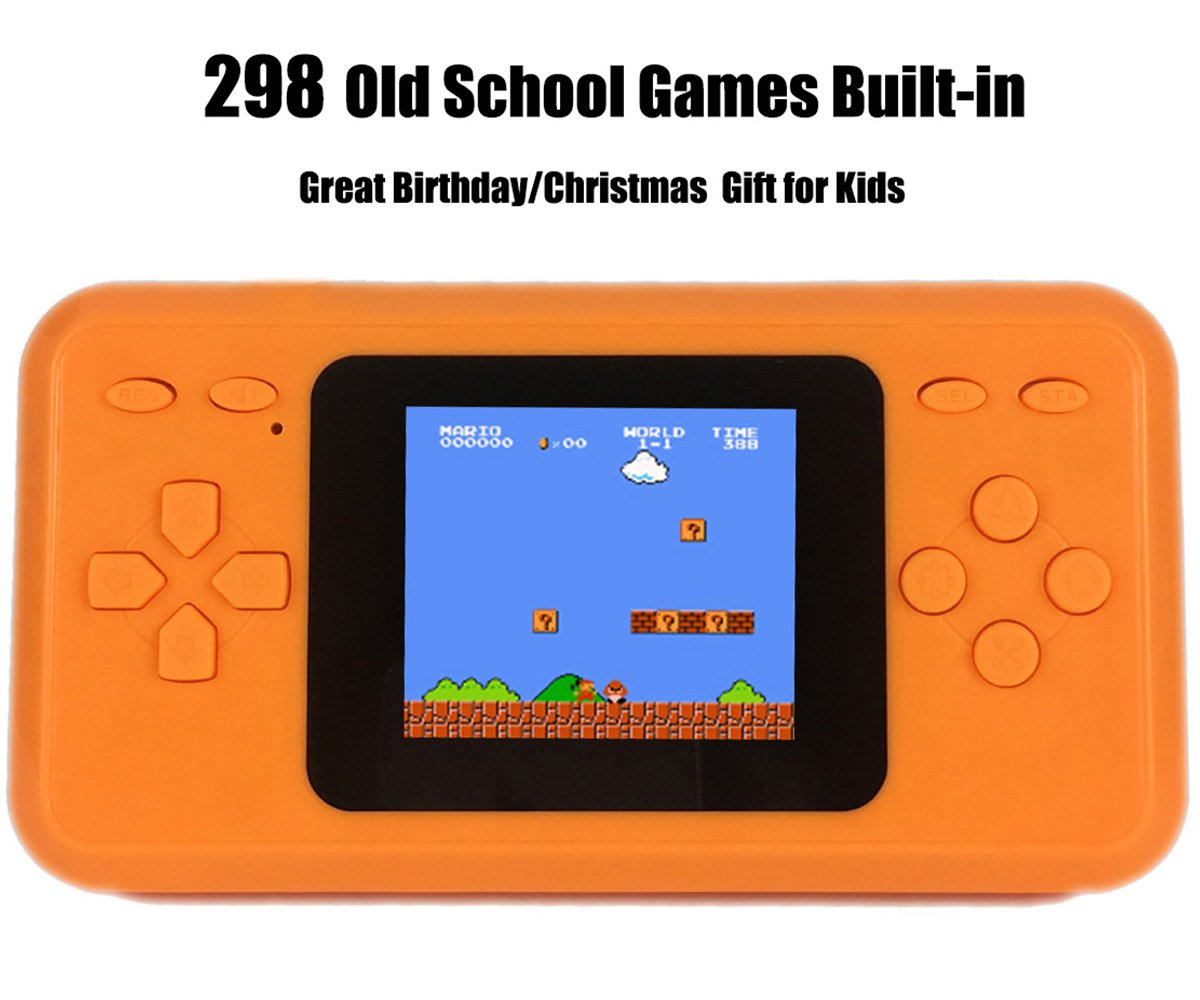 JJFUN RS-28 Handheld Game Console for Kids,Classic Retro Game Player with 2.4'' 8-Bit LCD Portable Video Games,The 80's Arcade Video Gaming System,Built-in 298 Old School Games Entertainment-Orange